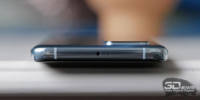 Huawei P40 Pro, верхняя грань: сенсор освещения и микрофон