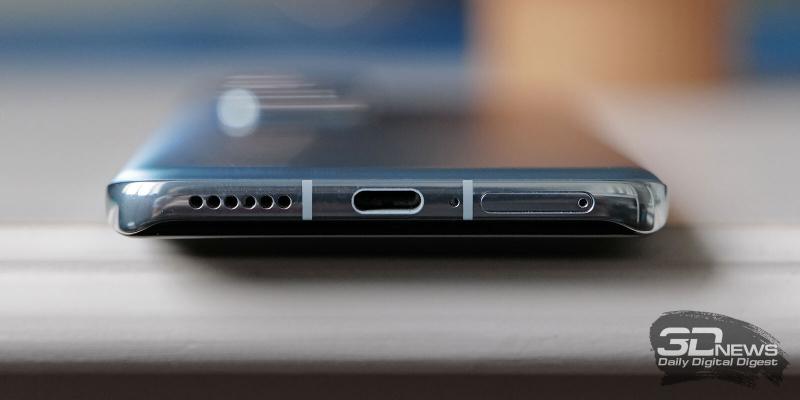 Huawei P40 Pro, нижняя грань: слот для SIM-карт/карты памяти, микрофон, порт USB Type-C, основной динамик
