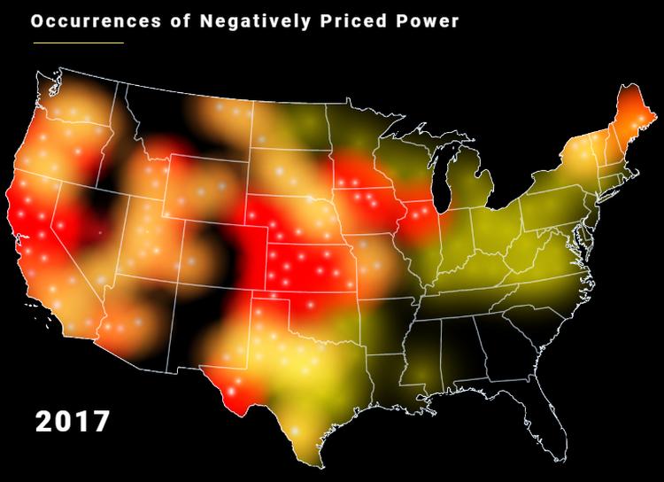 Примеры «отрицательной стоимости» электроэнергии на территории США за 2017 год
