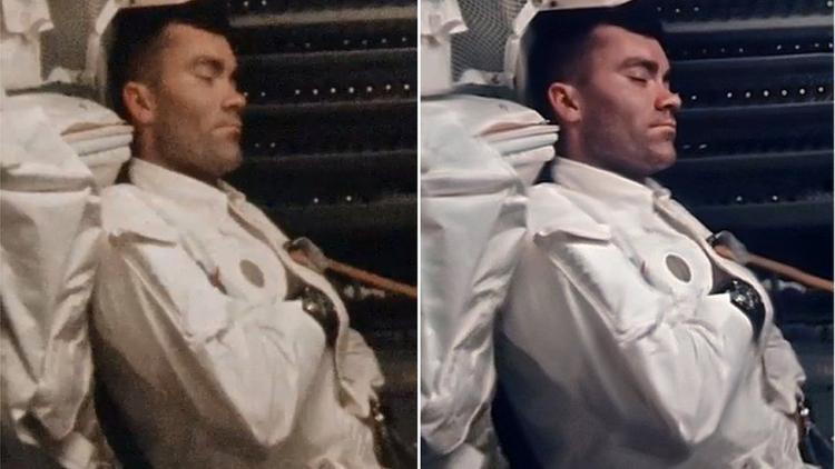 Фред Хейз дремлет. Необработанный (слева) и обработанный (справа) кадр 16 мм плёнки. Помимо стекинга Сандерс поправил на оригинальных снимках эффект «рыбьего глаза», полученный широкоугольной камерой