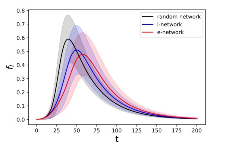 Доля зараженных в зависимости от времени для случайной сети и сетей типа i и e. Затененные интервалы показывают диапазон значений, по которым производилось усреднение в численных экспериментах по каждой сети. Черная линия — случайная сеть, синяя — сеть типа i, красная — сеть типа e.