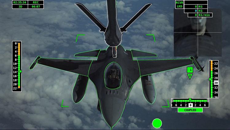 Изображение с экрана захвата для автоматической системы Airbus A3R дозаправки самолётов в воздухе