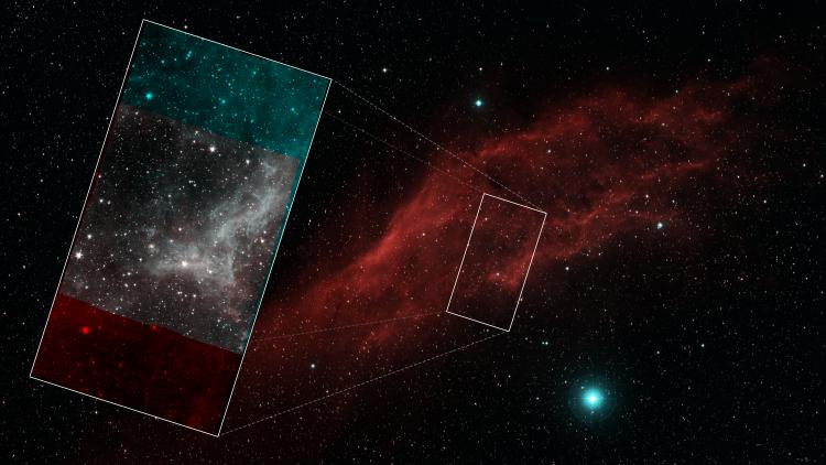 Составной снимок показывает всю туманность «Калифорния», и мозаичное изображение области за которой наблюдал Spitzer