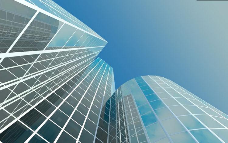 Типичный фасад многоэтажного здания. Сколько места пропадает зря.