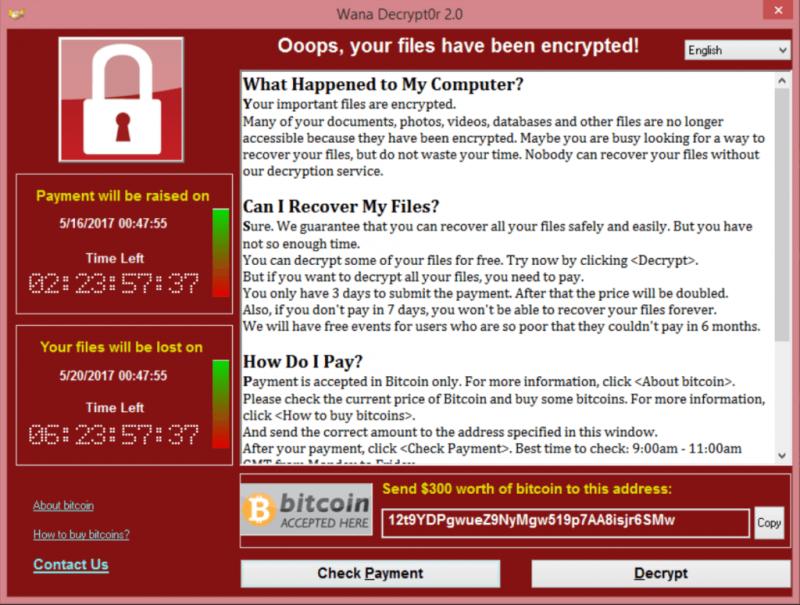 Так выглядело уведомление о том, что все файлы пошифрованы Wannacry. Изображение с сайте securelist.com