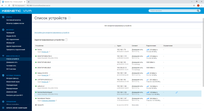 Раздел KeeneticOS со списком подключённых устройств