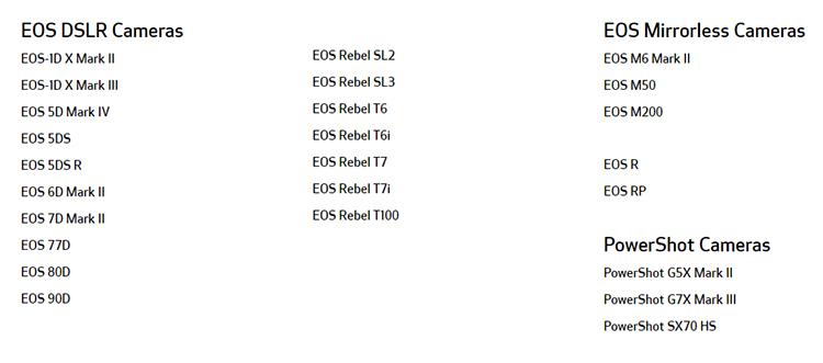 Список камер с поддержкой EOS Webcam Utility
