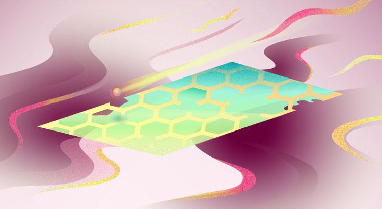 Иллюстрация. Дефектный графен. Дизайнер Дарья Сокол, пресс-служба МФТИ