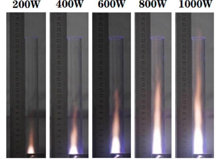 Зависимость длины плазменного факела от подаваемой на магнетрон мощности (линейная регулировка тяги)