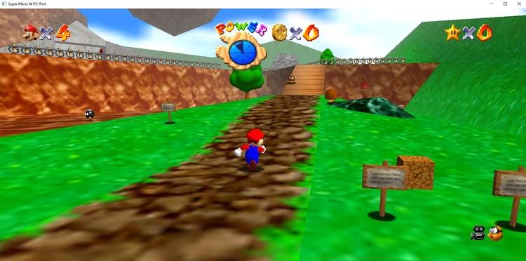 Скриншот из PC-порта Super Mario 64