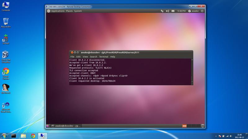 ...и рабочим столом Linux из-под Windows