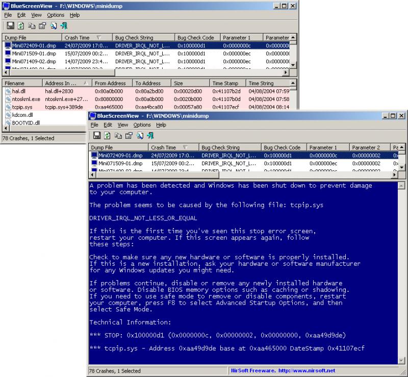 Утилита BlueScreenView позволяет разобраться в истинных причинах возникновения «синего экрана смерти» Windows