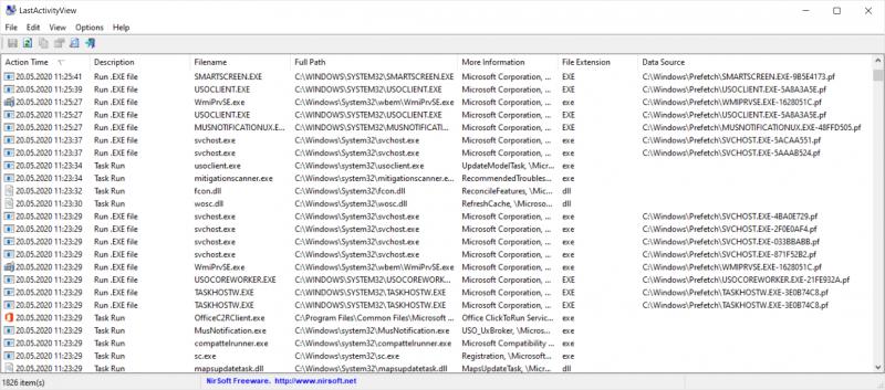 LastActivityView считывает данные журнала Windows и позволяет просматривать историю запусков всех программ