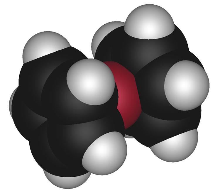 Молекула ферроцена — одно из наиболее известных металлоорганических соединений, представитель класса сэндвичевых соединений