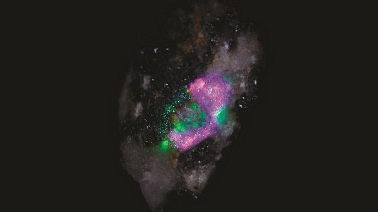 Тестовый анализ грунта камерой SHERLOC. Каждый цвет представляет различные минералы, обнаруженные на образце грунта
