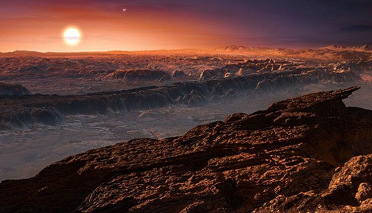 Поверхность экзопланеты Proxima b в представлении художника ()