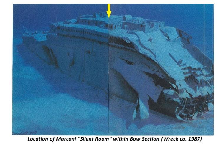 Стрелкой указано расположение радиорубки на обломках Титаника