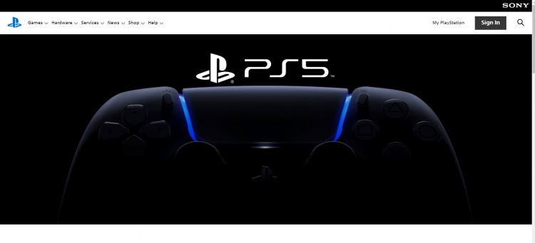 Новая версия страницы PS5