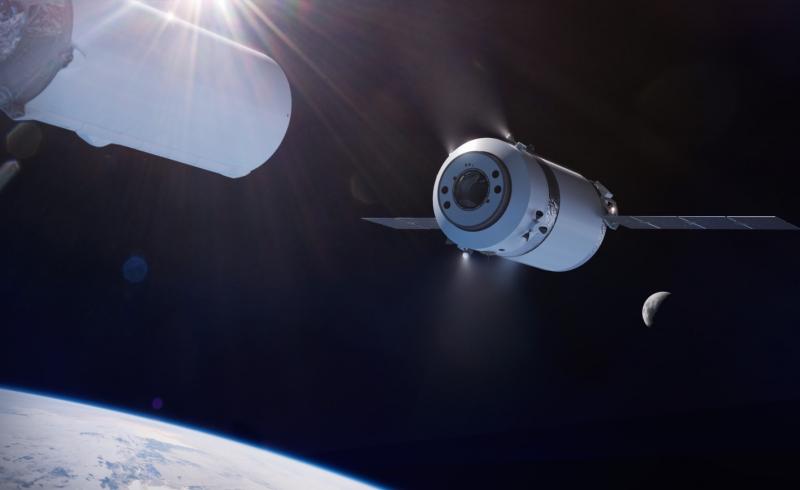 Грузовой корабль Dragon XL, отделяющийся от верхней ступени ракеты-носителя Falcon Heavy. Графика NASA