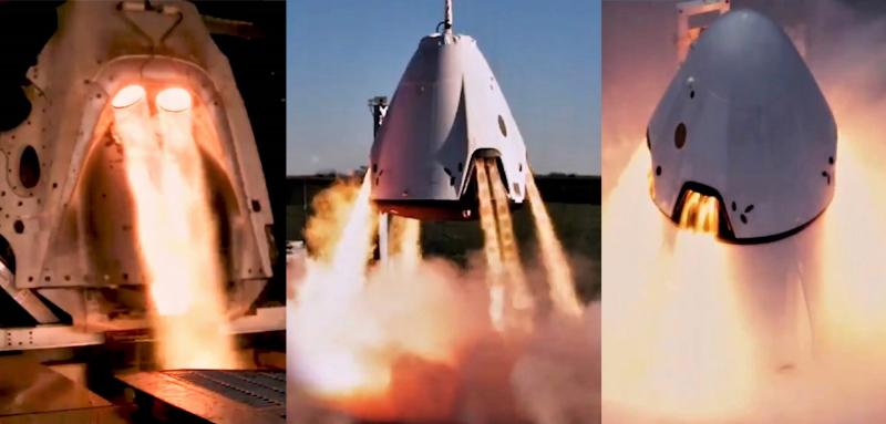 Стендовые испытания двигательной установки системы аварийного спасения. Скриншот с ролика SpaceX