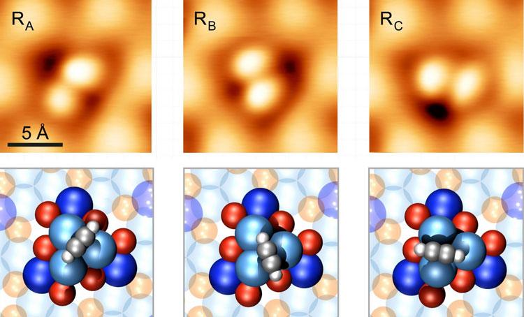 Верхний ряд - это изображения с СТМ, нижний - компьютерное представление (Empa)