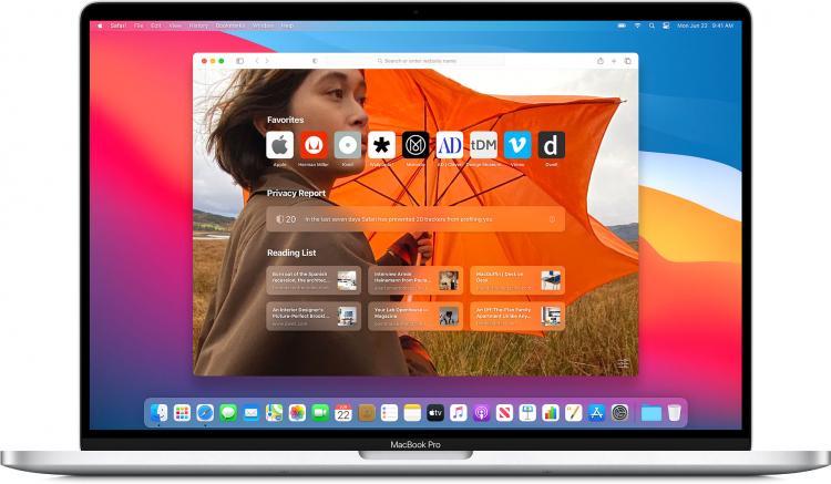Новая стартовая страница Safari выводится на MacBook Pro