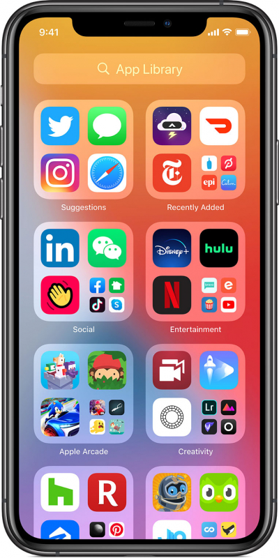 Библиотека приложений на iPhone 11 Pro