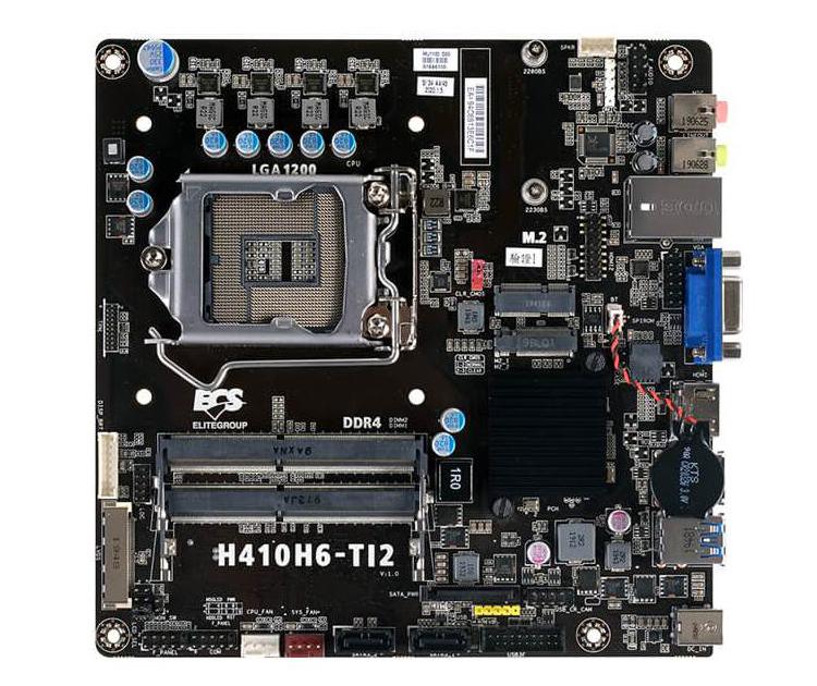 Плата ECS H410H6-TI2 для процессоров Intel LGA 1200 имеет формат Thin Mini ITX