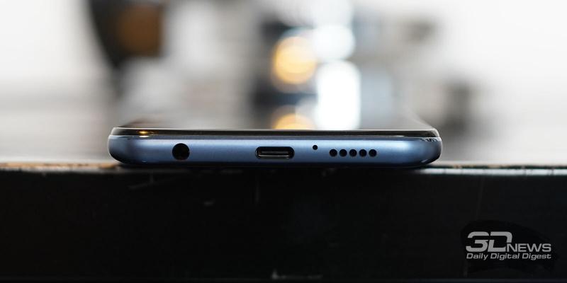 Xiaomi Redmi Note 9S, нижняя грань: мини-джек, порт USB Type-C, микрофон, динамик