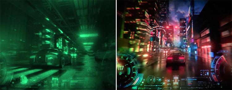 Слева — изображение на экране прототипа, справа — то, как оно должно выглядеть