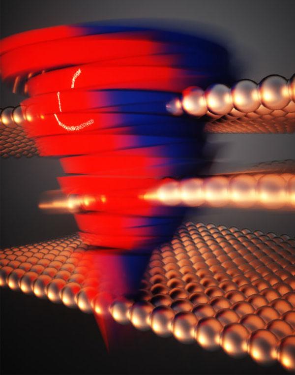Цветной вихрь символизирует измененния в движении электронов в слоях 2D-металла после смещения среднего слоя (Ella Maru Studios)