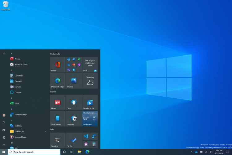 633 Состоялся релиз Windows 10 Insider Preview Build 20161 2