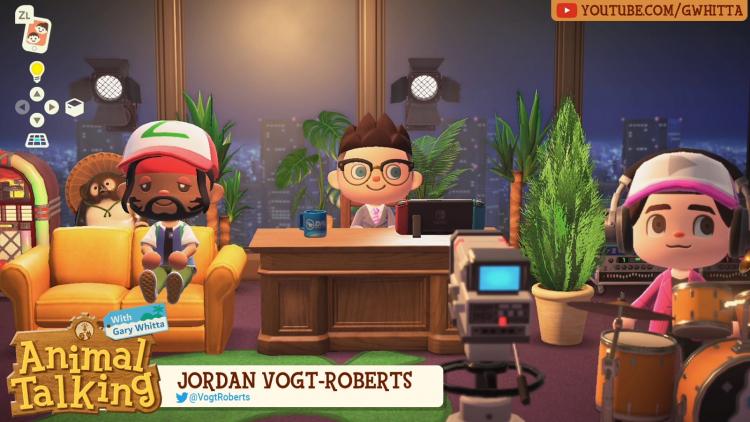 Джордан Вот-Робертс (слева) на шоу Гэри Уитта (посередине) в Animal Crossing: New Horizons