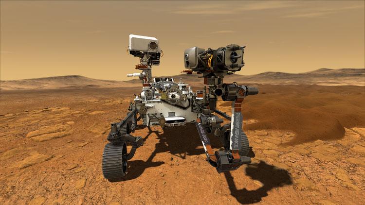 Марсход «Настойчивость» на Марсе в представлении художника