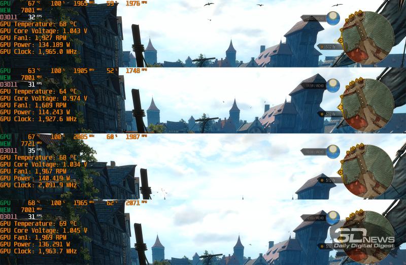 Тестирование GIGABYTE GeForce GTX 1660 SUPER GAMING OC 6G (сверху вниз: работа по умолчанию, снижение лимита мощности, разгон, тестирование в корпусе)