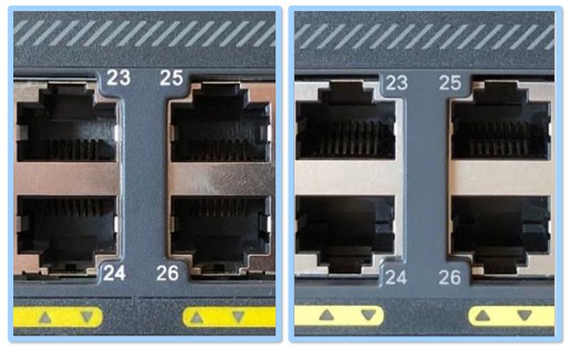 У оригинального коммутатора Cisco надписи сделаны бледно-серым (справа)