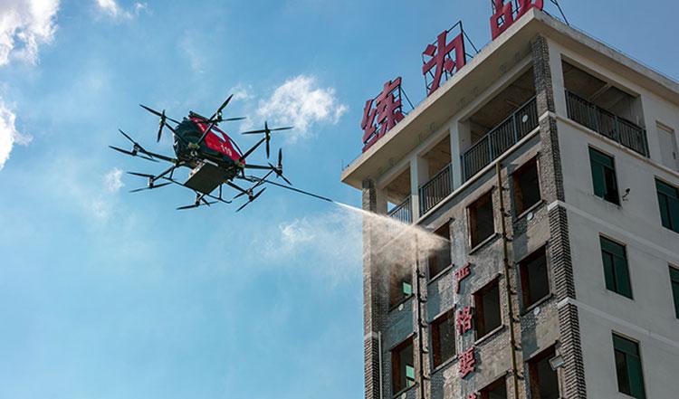 Демонстрация работы дрона-пожарного (EHang)