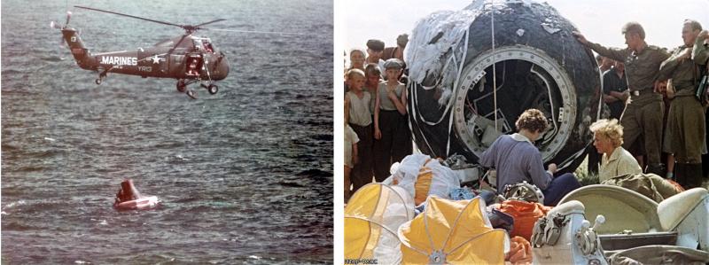 Эвакуация Уолтера Ширры из приводнившейся капсулы Mercury (3 октября 1962 г.) и встреча Валентины Терешковой после приземления корабля «Восток-6» (19 июня 1963 г.). Фото NASA и ИТАР-ТАСС.