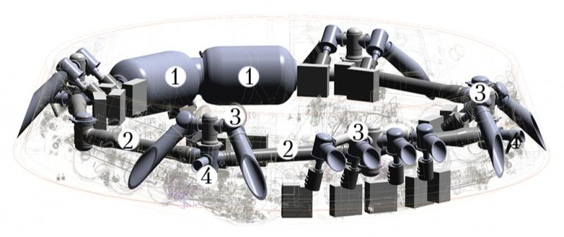 Устройство пороховой тормозной двигательной установки (ПТДУ) корабля «Орёл»: 1 — корпус для размещения твердого ракетного топлива (камера сгорания); 2 — система газоходов; 3 — сопловые управляющие блоки; 4 — клапаны сброса продуктов сгорания. Графика РКК «Энергия» из журнала «Космическая техника и технологии» №4, 2014, с.21-30