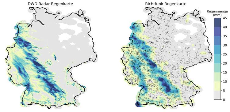 Сравненние данных об осадках за 48 часов переданных метеослужбой Германии (слева) и данными с вышек сотовой связи (справа)