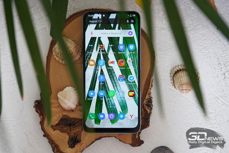 Tecno Camon 15 Pro, лицевая панель: полностью занята экраном, не считая небольших рамок и прорези разговорного динамика под верхней кромкой