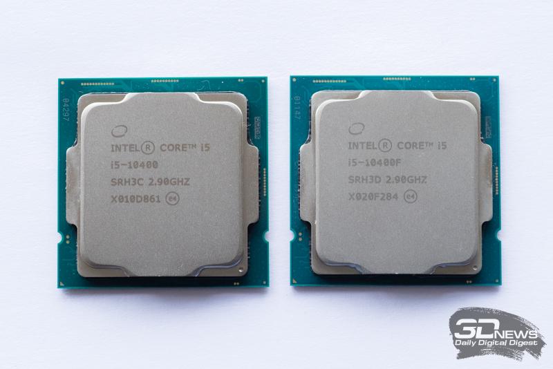 Core i5-10400 (слева) и Core i5-10400F (справа)