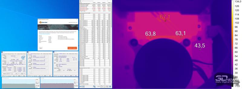 Нагрев конвертера питания ASUS TUF GAMING B460-PLUS при использовании Intel Core i5-10400F (нагрузка — Blender)