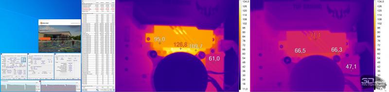 Нагрев конвертера питания ASUS TUF GAMING B460-PLUS при использовании Intel Core i7-10700K: слева — Blender, справа — «Ведьмак-3»