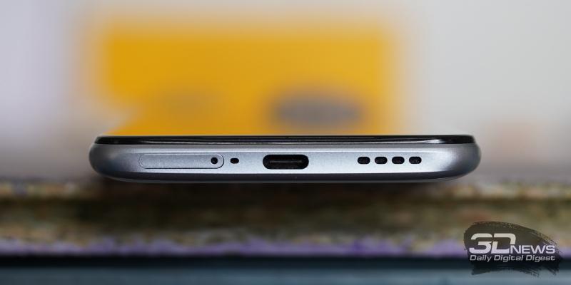 realme X3 SuperZoom, нижняя грань: основной динамик, порт USB Type-C, слот для SIM-карт, микрофон