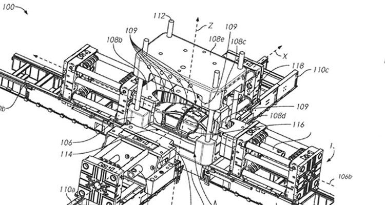 Иллюстрация из патента Tesla на пресс для штамповки цельнолитого корпуса автомобиля