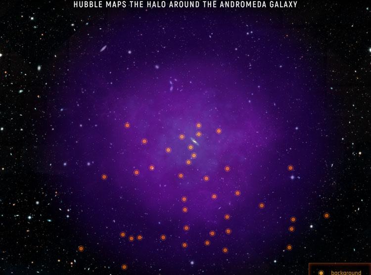 Газовое гало галактики Андромеда на фоне квазаров (NASA)