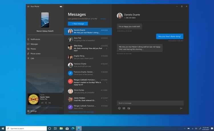 Приложение «Ваш телефон» в Windows 10 получит новые функции