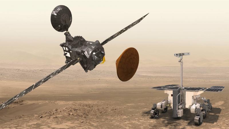 Элементы миссии ExoMars-2020 — перелетный модуль, десантный модуль, планетоход. Графика ЕКА