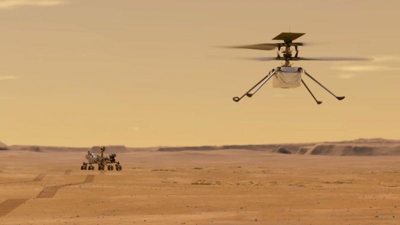 Разведку целей будет осуществлять дрон Ingenuity («Изобретательность»). Графика NASA